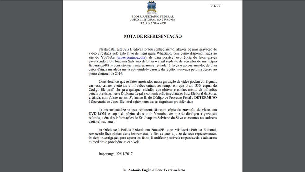 Nota de Representação foi publicada pelo juiz eleitoral  Antonio Eugênio Leite, da 33ª Zona Eleitoral, em Itaporanga, PB (Foto: Reprodução/33ª Zona Eleitoral da PB)