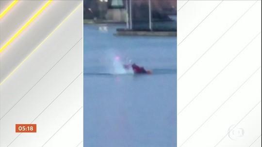 Helicóptero cai em rio de NY e mata 5; apenas piloto sobreviveu
