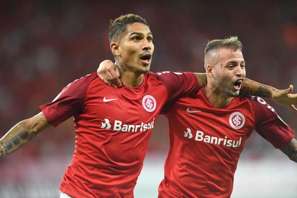 Inter x Palestino Beira-Rio Libertadores gol Guerrero Nico López — Foto: Ricardo Duarte / Internacional