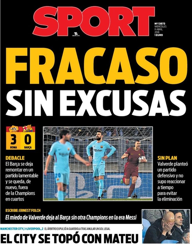 Diário Sport capa Eliminação Barcelona (Foto: Reprodução)