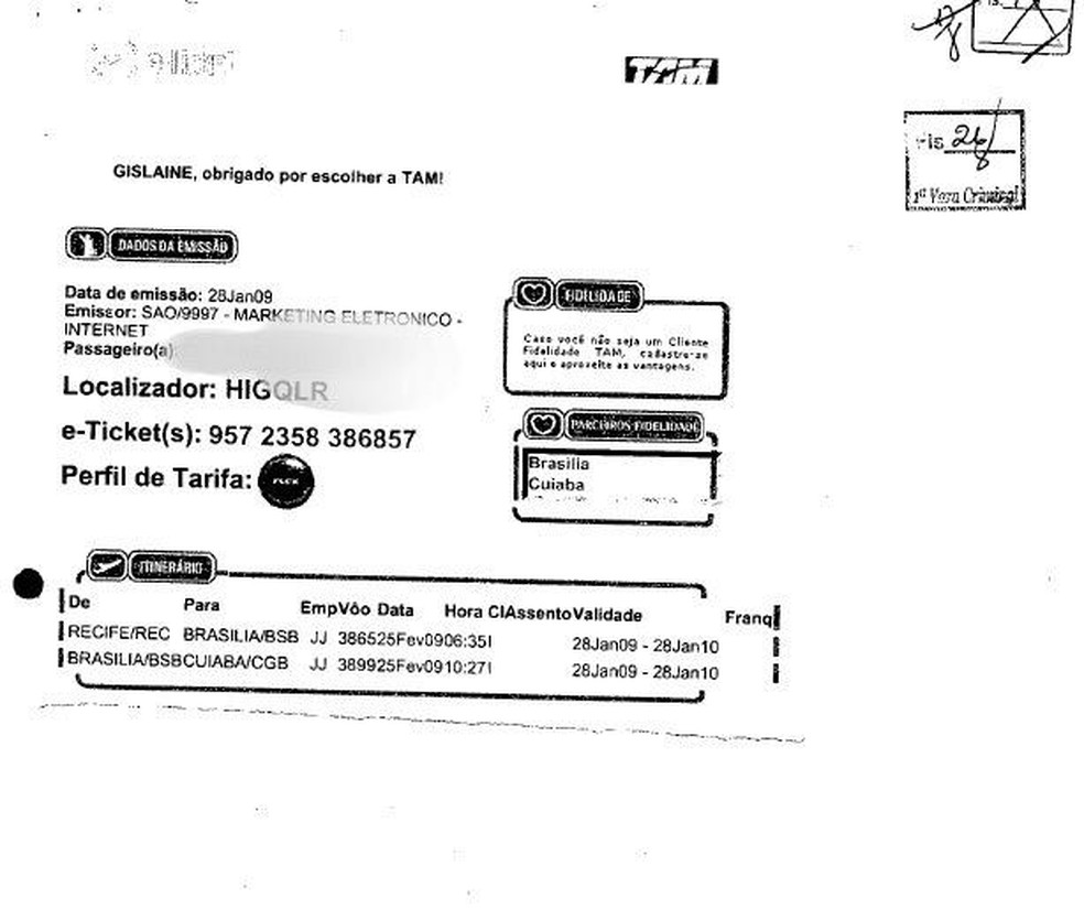 Outro e-mail anexado ao processo mostra outra compra de passagem — Foto: Reprodução