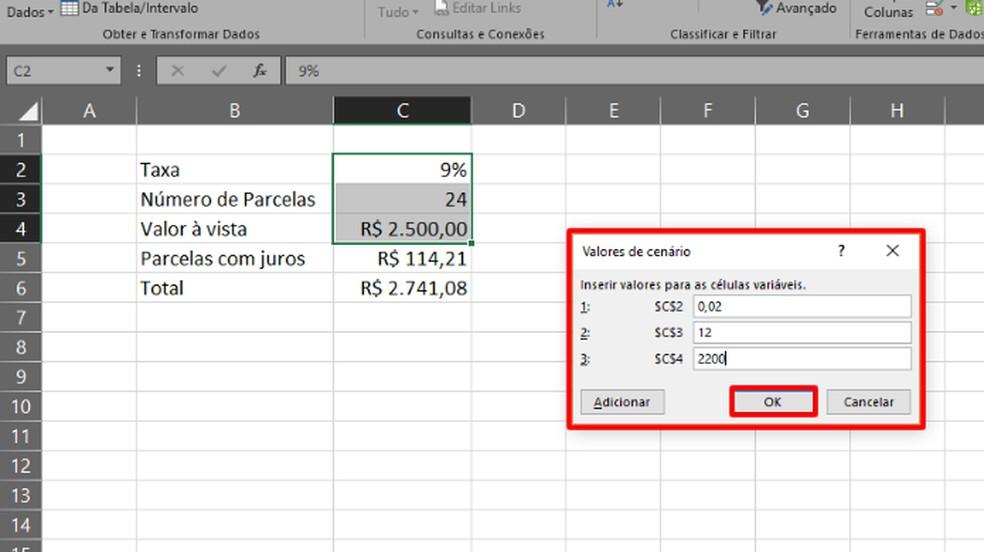 """Continue a edição do cenário escolhendo os valores de cada variável e clique """"OK"""" (Foto: Reprodução/Daniel Ribeiro)"""