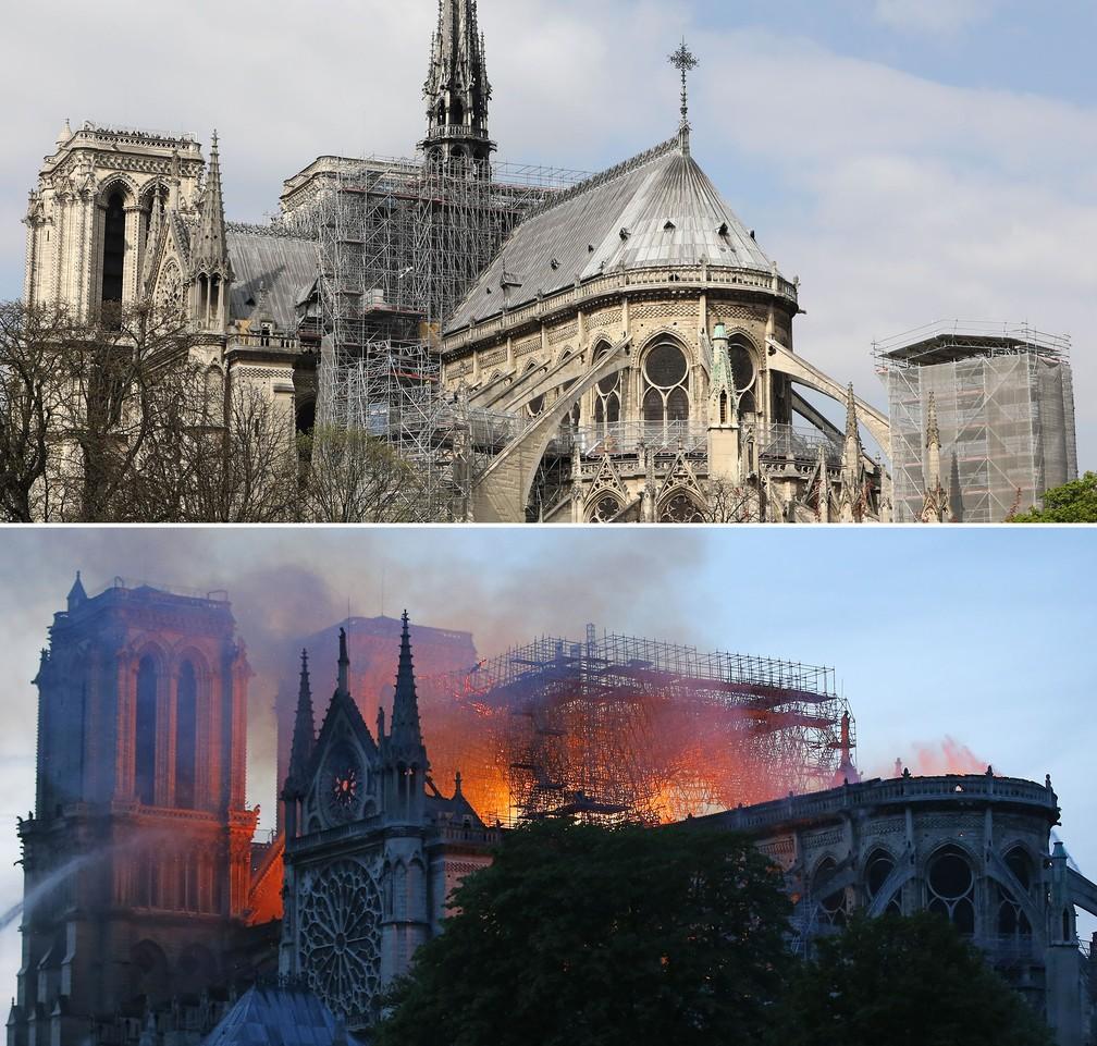 Comparativo mostra imagem de arquivo com o incêndio ocorrido nesta segunda-feira (15) na Catedral de Notre-Dame, em Paris — Foto: Ludovic Marin/AFP; Michel Euler/AP