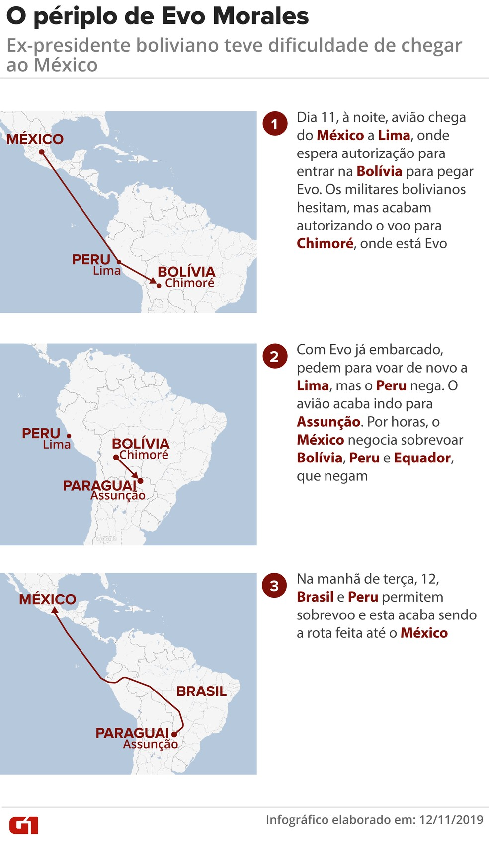 Mapa mostra como Evo foi levado ao México — Foto: G1/Wagner Magalhães
