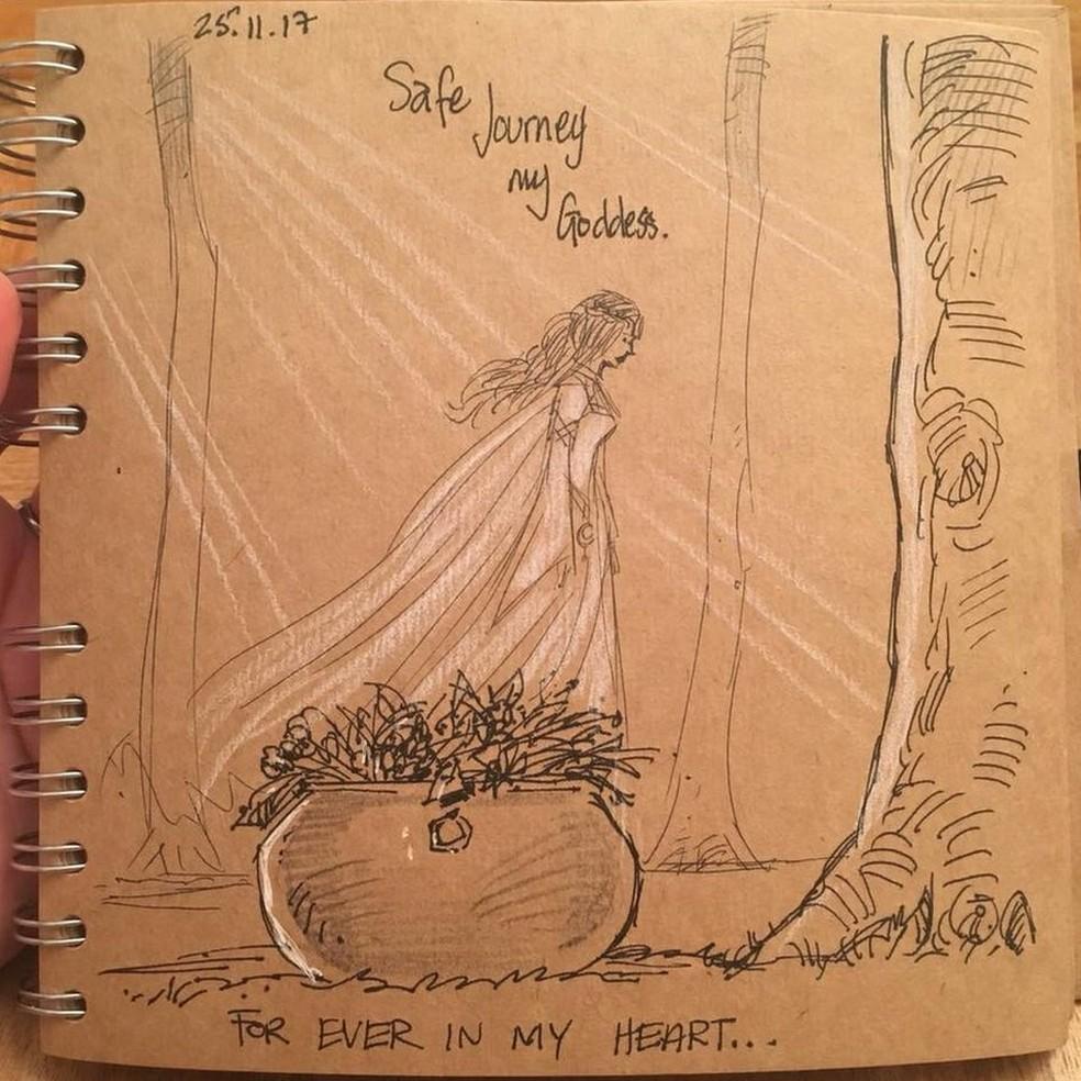 Ele escreveu: 'Difícil desenhar em meio às lágrimas nesta noite - mas que despedida incrível para minha linda garota' — Foto: Gary Andrews/Arquivo Pessoal