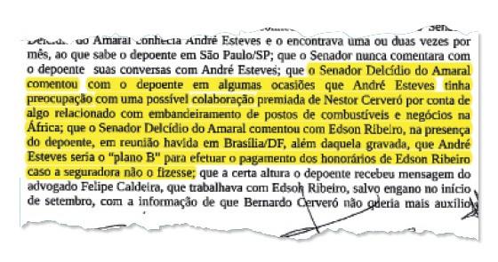Trecho da delação de Diogo Ferreira  (Foto: Reprodução)