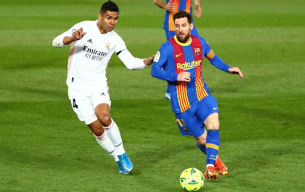 Real Madrid de Casemiro e Barcelona de Messi estão entre os 12 fundadores da Superliga Europeia de clubes — Foto: Reuters