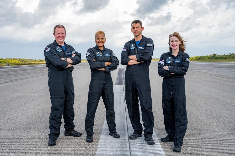 Chris Sembroski, Sian Proctor, Jared Isaacman e Hayley Arceneaux, tripulantes da missão Inspiration4 — Foto: Inspiration4/John Kraus
