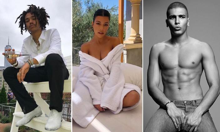 Os modelos Luka Sabbat e Younes Bendjima e a socialite Kourtney Kardashian (Foto: Instagram)