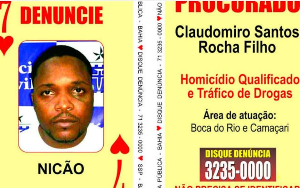 Ex 'Sete de Copas' do Baralho do Crime é morto a tiros em Salvador — Foto: Divulgação/SSP-BA