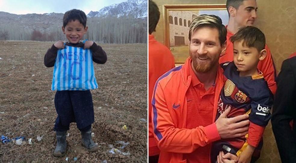 Murtaza Ahmadi conheceu o jogador argentino Lionel Messi em 2016 — Foto: AFP