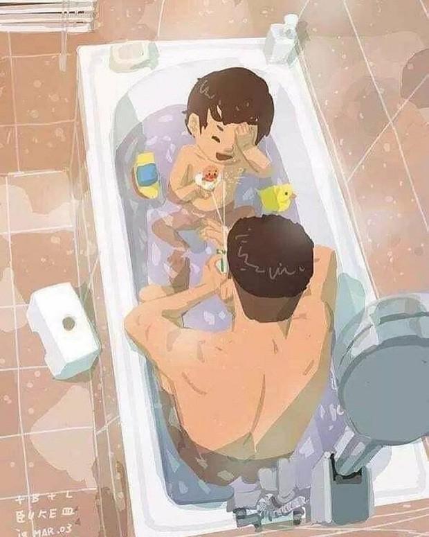 Pai e filho tomam banho e molham todo o banheiro (Foto: Reprodução/Facebook)