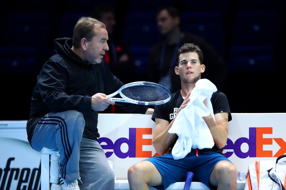 Gunter Bresnik e Dominic Thiem no ATP Finals, em 2016 — Foto: Getty Images