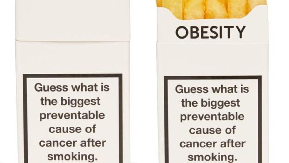A campanha dizia: 'Advinha qual a segunda maior causa de câncer que pode prevenida, depois de fumar?' (Foto: Cancer Research/Reprodução)