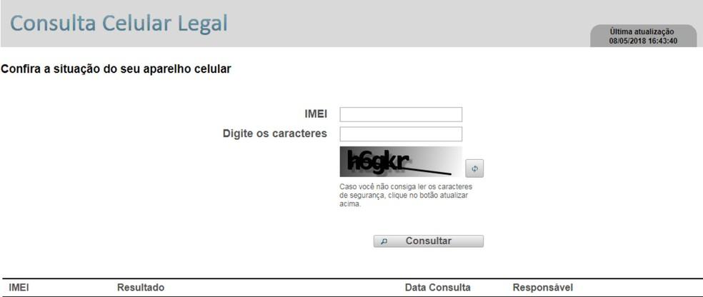 Site da Anatel permite conferência da regularidade do Imei do aparelho celular (Foto: Anatel/Reprodução)