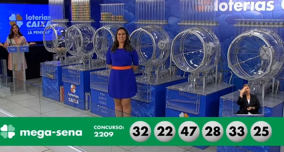 Resultado do sorteio 2.209 da Mega-Sena — Foto: Reprodução