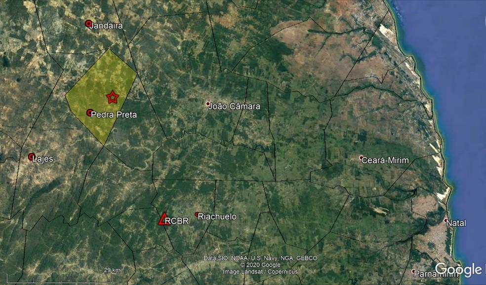 Novos tremores de terra são registrados em Pedra Preta; epicentro está representado pela estrela vermelha — Foto: LabSis/UFRN
