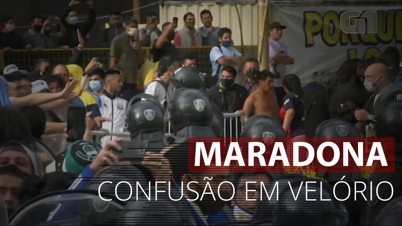 Fãs e policiais brigam durante velório de Diego Maradona