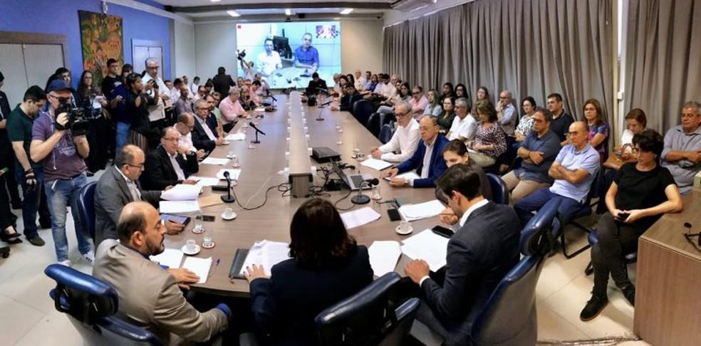 Reunião entre reitores dos institutos federais do RN com a bancada federal potiguar na Câmara dos Deputados — Foto: Cícero Oliveira