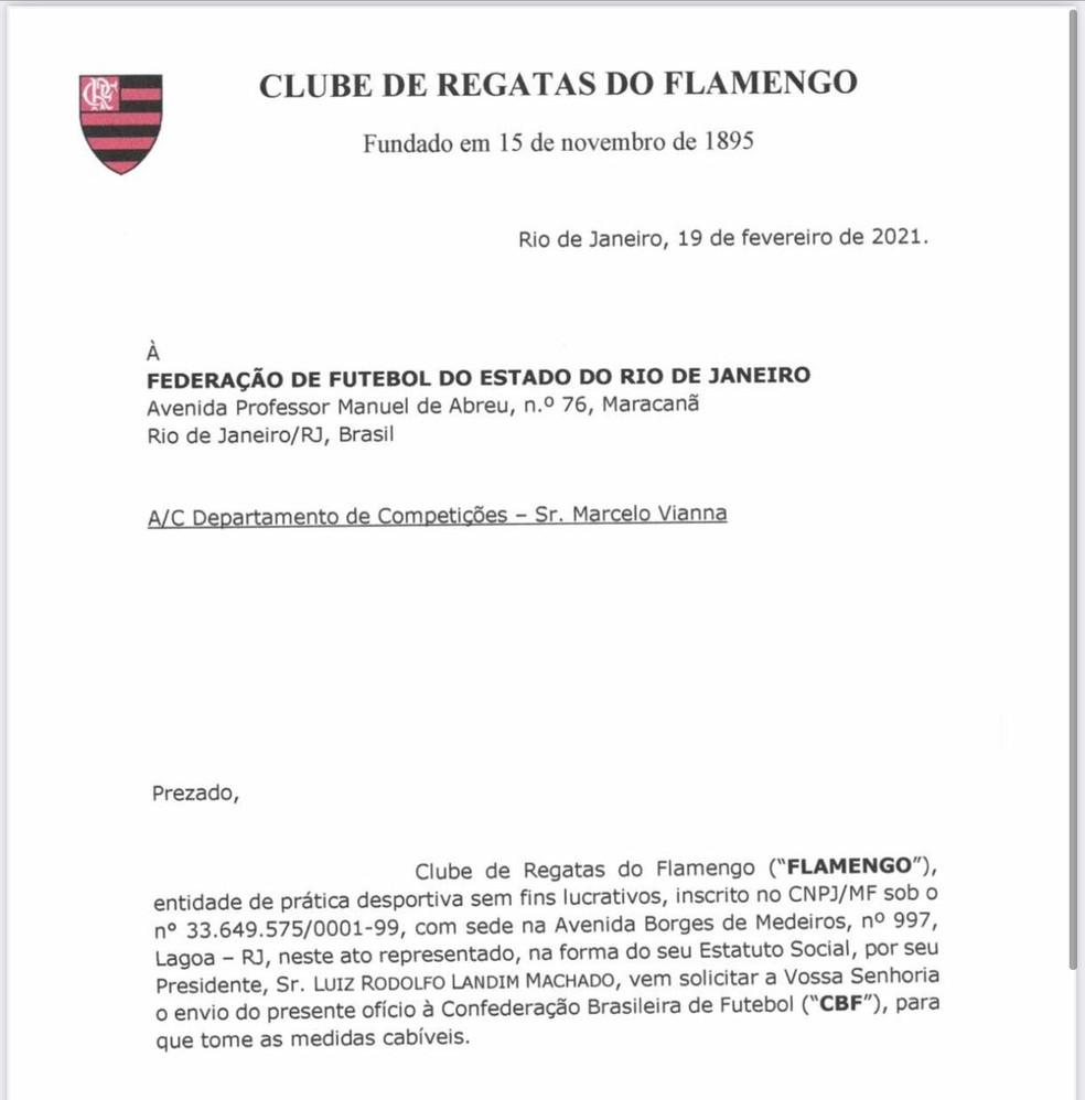 Ofício Flamengo Inter arbitragem — Foto: ge