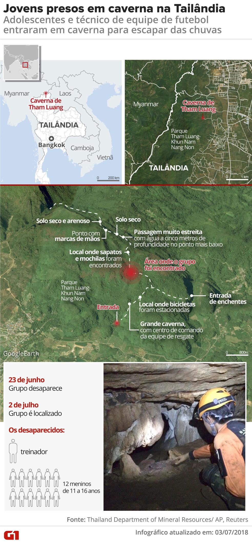 Mapa mostra local de caverna em que jovens ficaram presos na Tailândia (Foto: Juliane Monteiro/G1)