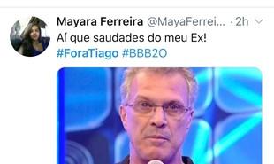 Meme com os pedidos da saída do apresentador Tiago Leifert do 'Big Brother' | Reprodução/Twitter