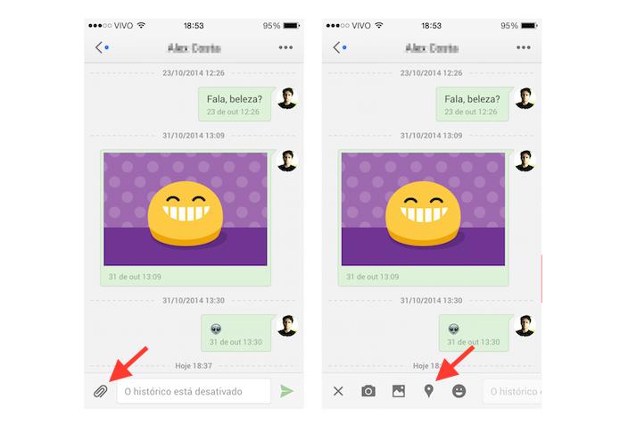 Acessando a ferramenta de compartilhamento de localização do Hangouts no iOS (Foto: Reprodução/Marvin Costa)