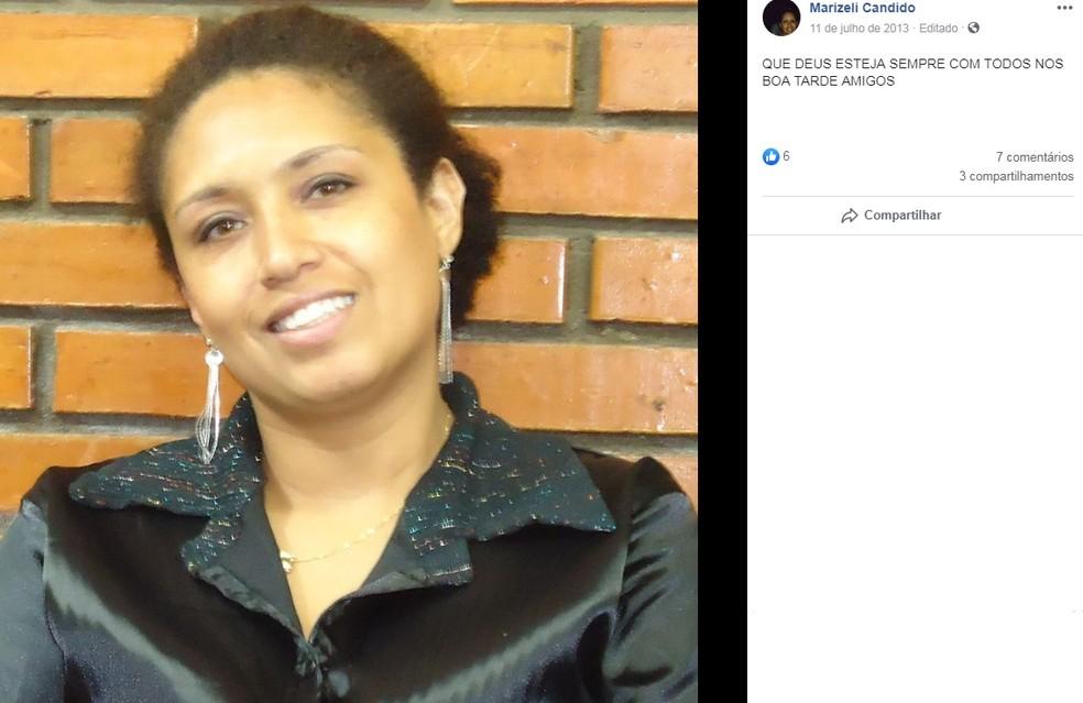 Corpo encontrado foi identificado como sendo de Marizeli Candido, de 47 anos — Foto: Reprodução/Facebook
