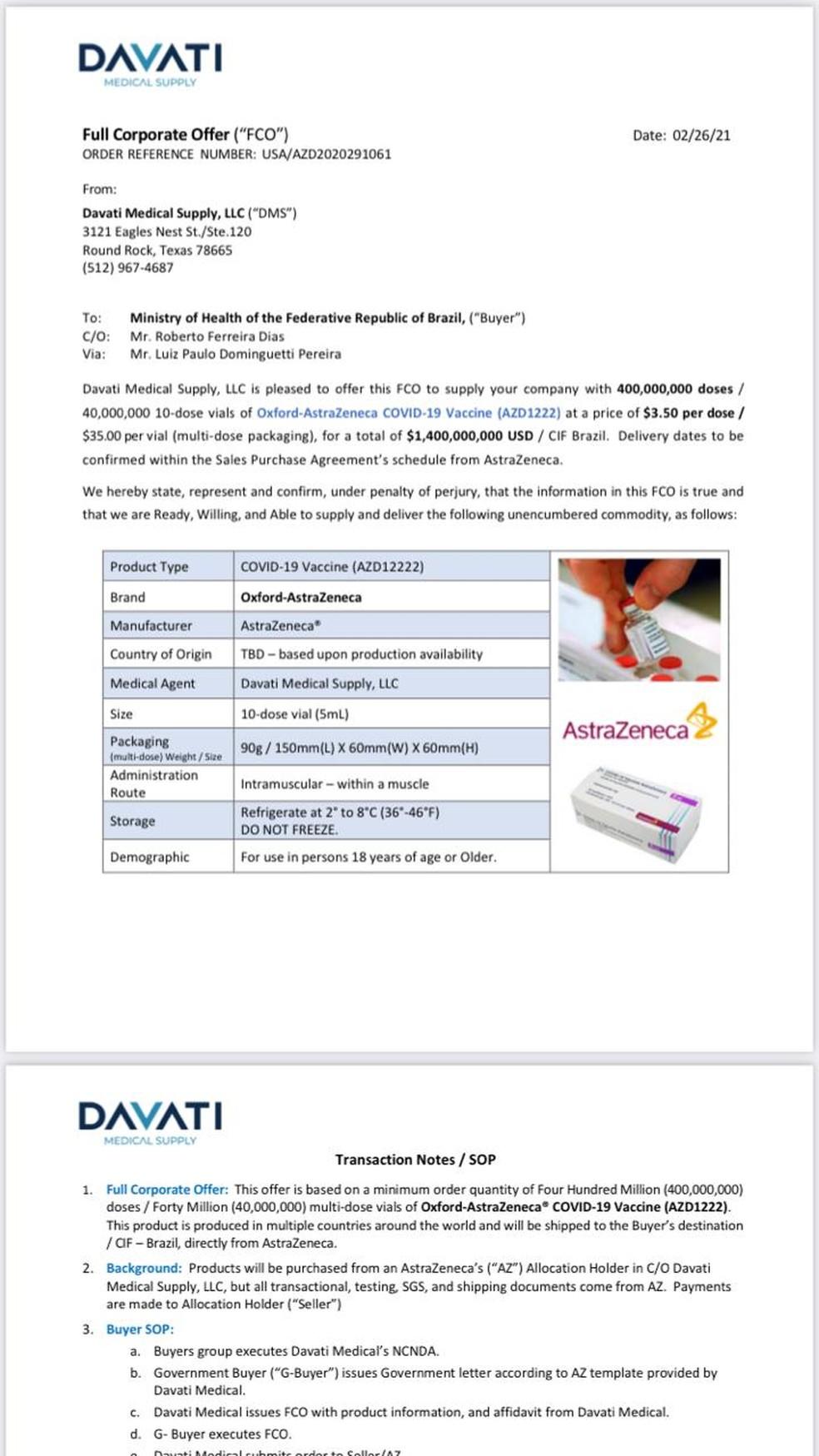 Trecho da proposta de venda de vacinas contra a Covid feita pela Davati ao Ministério da Saúde — Foto: Reprodução