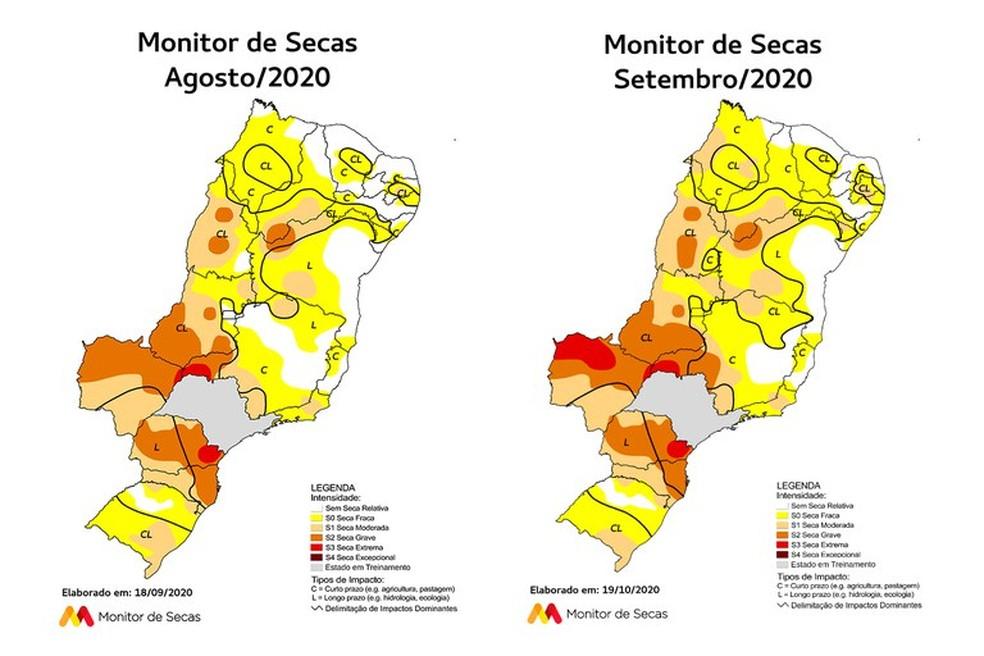 Piauí aumenta área de seca entre agosto e setembro de 2020 — Foto: Divulgação/Monitor das Secas