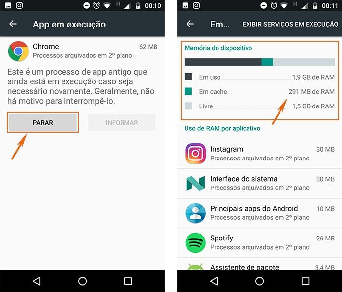 Pare o uso de memória RAM em cache o observe os resultados no celular Android