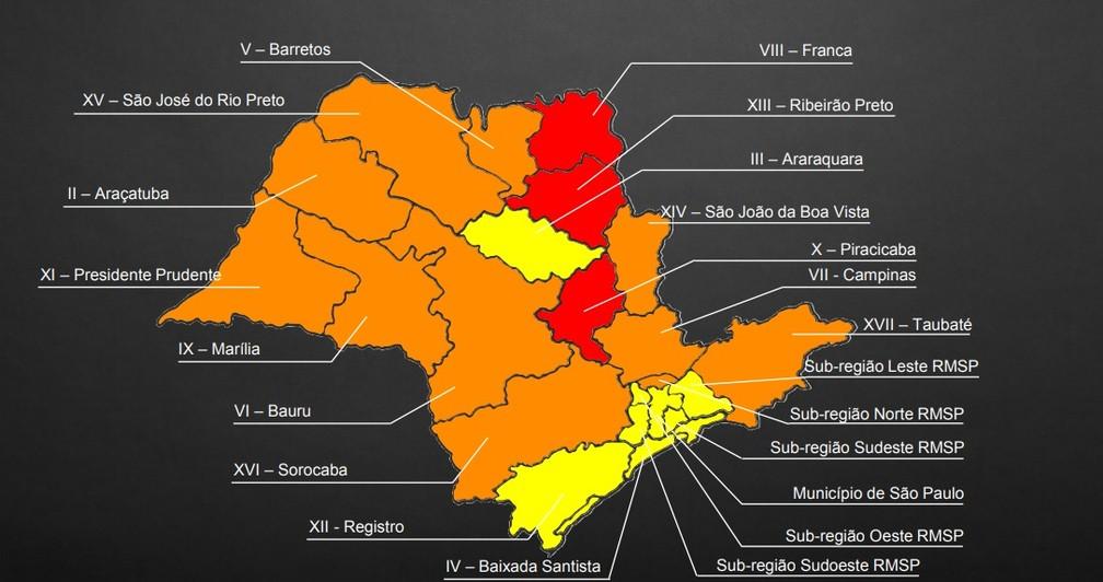 Novo mapa da quarentena: 27 de julho a 10 de agosto mostra região de Campinas na fase 2 - laranja — Foto: Arte-Governo de SP