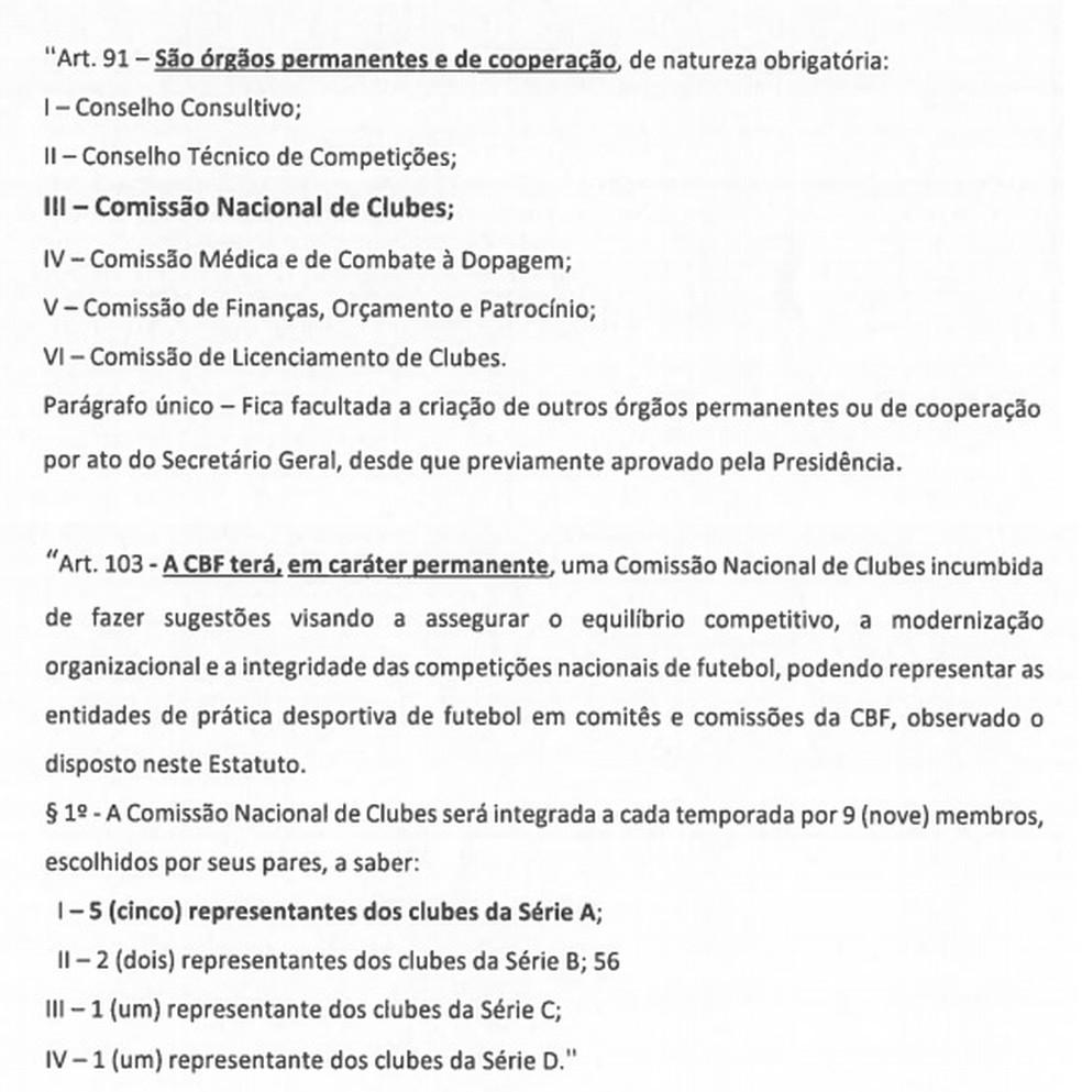 Artigos do Estatuto da CBF que tratam sobre a Comissão Nacional de Clubes — Foto: Reprodução