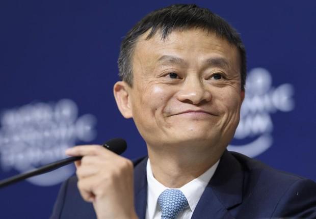 O CEO do Alibaba, Jack Ma , durante palestra no Fórum Econômico Mundial em Davos, na Suíça (Foto: Ruben Sprich/Reuters)