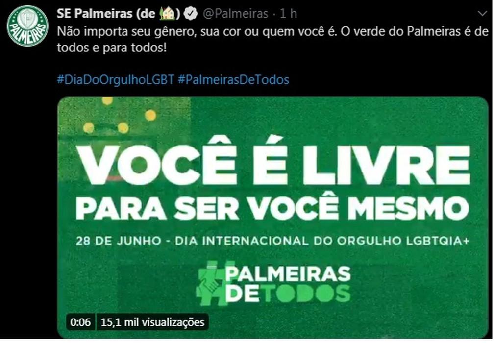 Palmeiras se posiciona no Dia Internacional do Orgulho LGBTQIA+ — Foto: Reprodução