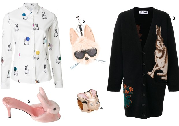 1. Paul Smith (R$1.520) 2. Stella Mccartney (R$2.980) 3. Loewe (R$9.820) 4. Pandora (R$ 265,00) 5. Streetzie's High Heel Bunny Slippers ($98.00) (Foto: Reprodução)