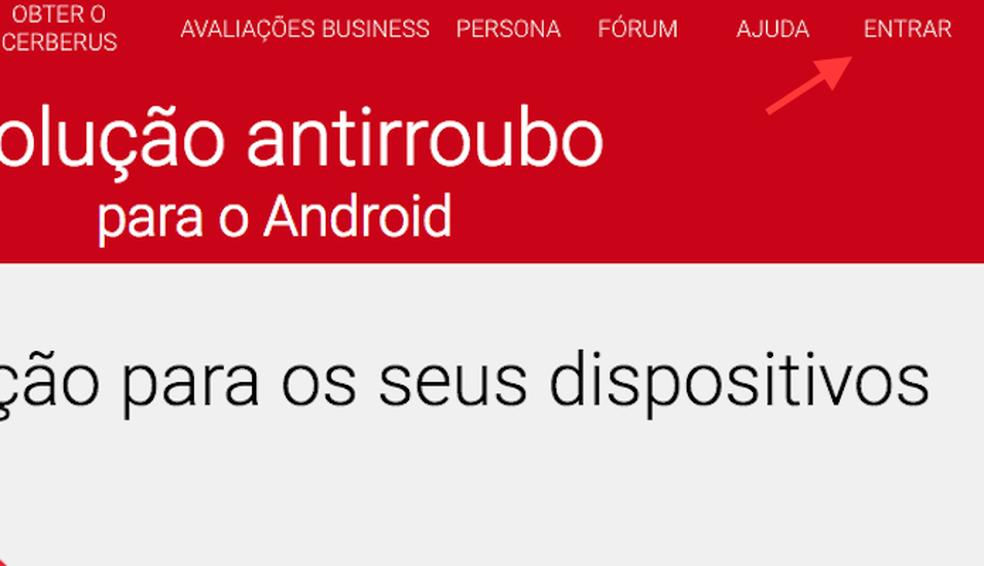 Opção para acessar o serviço Cerberus pela web para rastrear um aparelho Android (Foto: Reprodução/Marvin Costa)