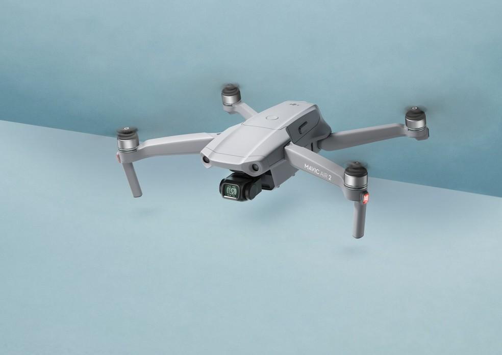 O novo Mavic Air 2 tem autonomia de até 34 minutos e traz recursos de voo inteligente — Foto: Divulgação/DJI