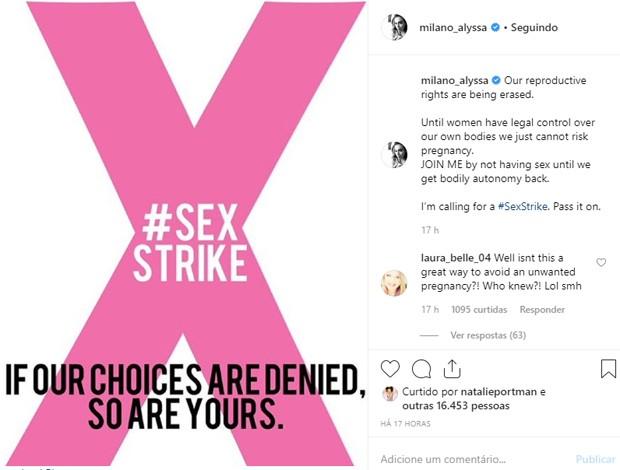 Alyssa Milano polemiza ao falar de greve de sexo até que aborto seja regulamentado (Foto: Reprodução/Instagram)