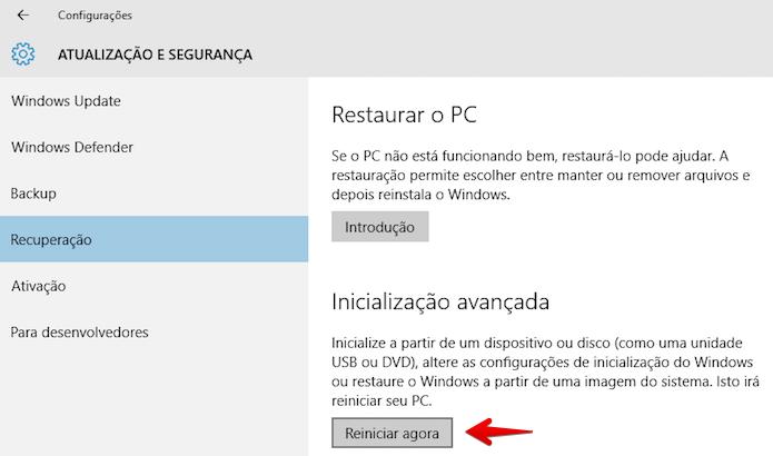 Iniciando a inicialização avançada do Windows 10 (Foto: Reprodução/Helito Bijora)