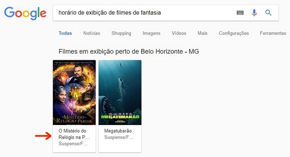 Clique no filme escolhido, a partir da navegação no serviço de pesquisa do Google — Foto: Reprodução/Raquel Freire