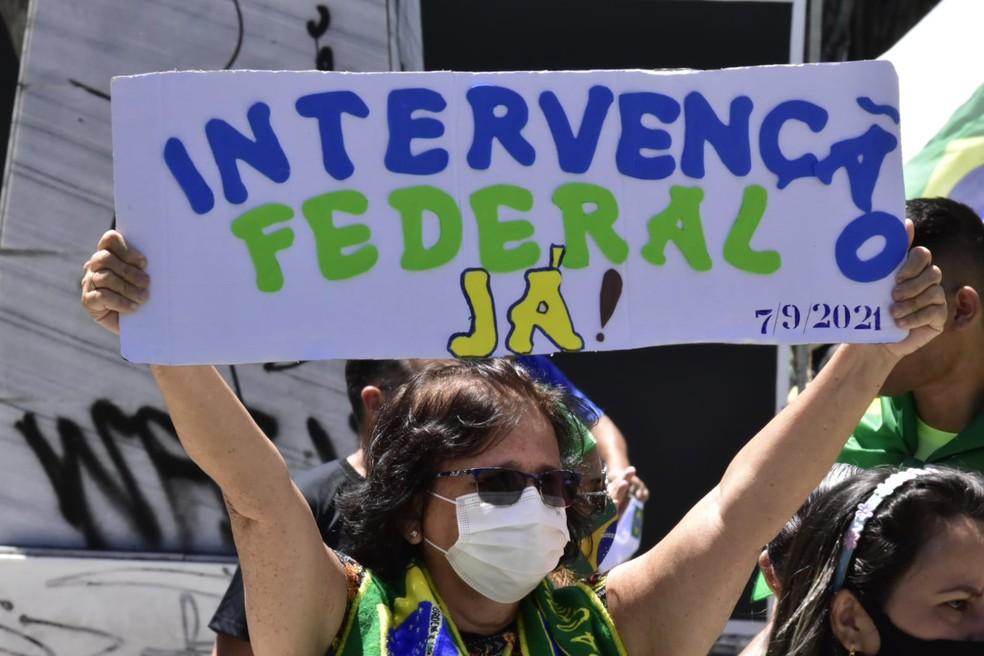 Natal, RN: Manifestação tem pedidos inconstitucionais em Natal — Foto: Pedro Vitorino