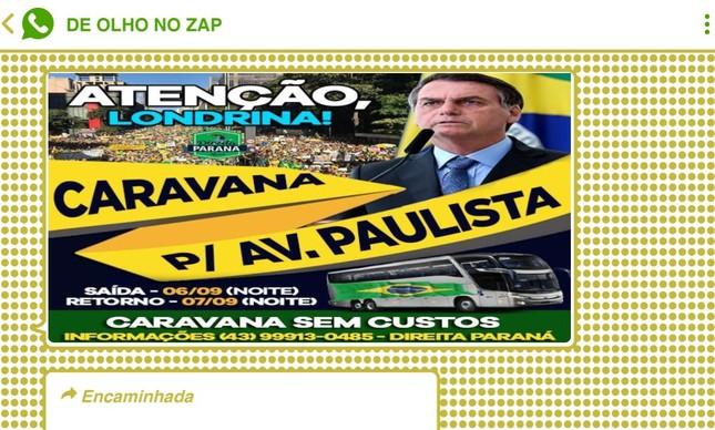 Convocações para caravanas supostamente gratuitas saindo de cidades de todo o Brasil inundaram as redes bolsonaristas na última sexta