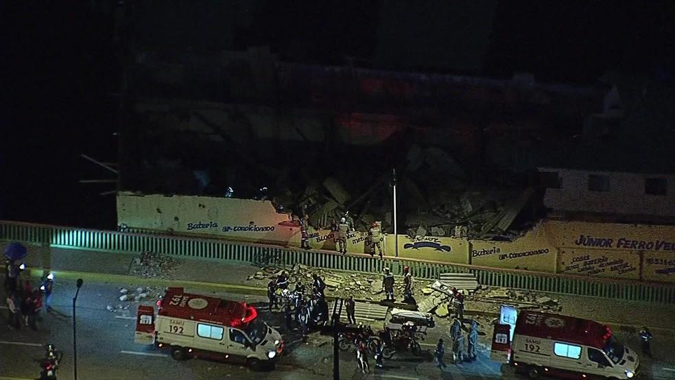 Desabamento ocorreu na Rua Dr. Leônidas Cravo Gama, no bairro de Afogados, no Recife â?? Foto: Reprodução/TV Globo
