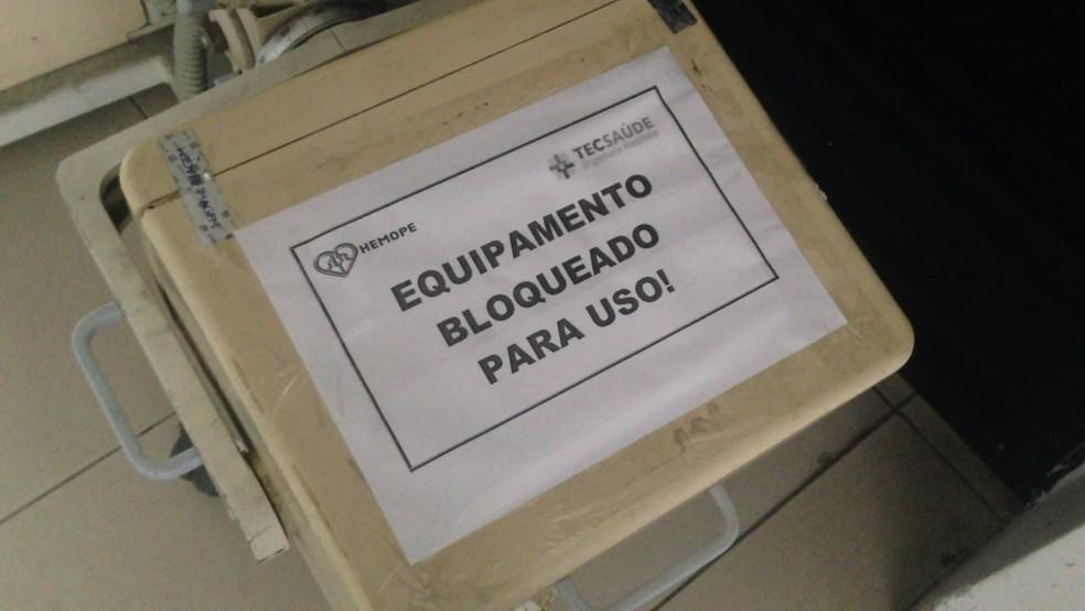 Hospital de Hematologia de Pernambuco tem parte dos equipamentos sem funcionar (Foto: Reprodução/TV Globo)