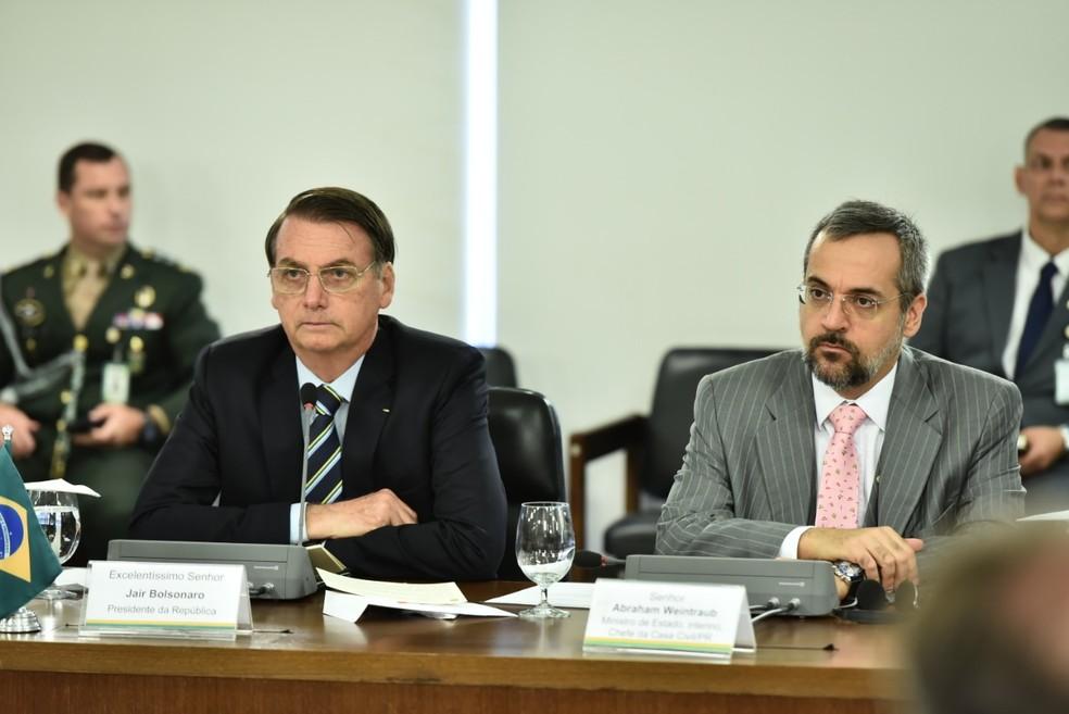 O presidente Jair Bolsonaro e o novo ministro da Educação, Abraham Weintraub — Foto: Casa Civil/PR