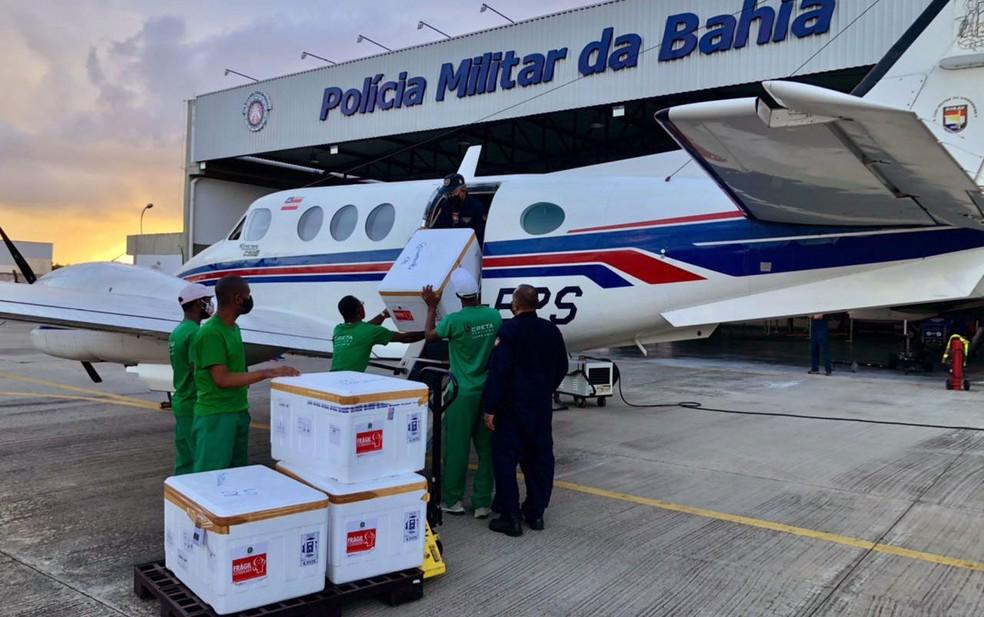 Carga chegou ao aeroporto de Salvador, na madrugada desta quarta-feira — Foto: Divulgação/Governo da Bahia