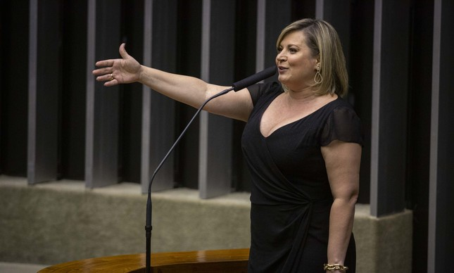 A deputada Joice Hasselmann, em sessão na Câmara