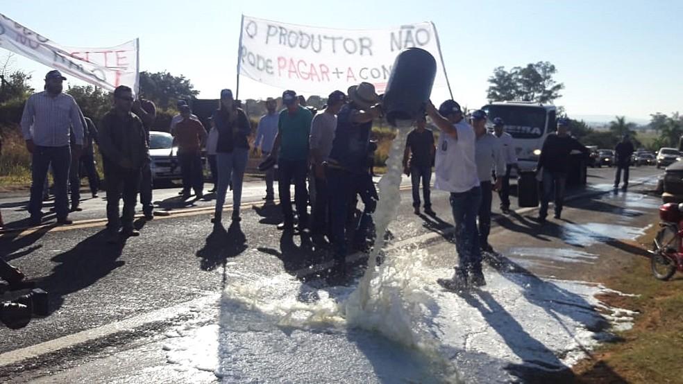 Produtores descartam leite na rodovia MG-050 em Passos (MG) (Foto: Graziela Fávaro/EPTV)