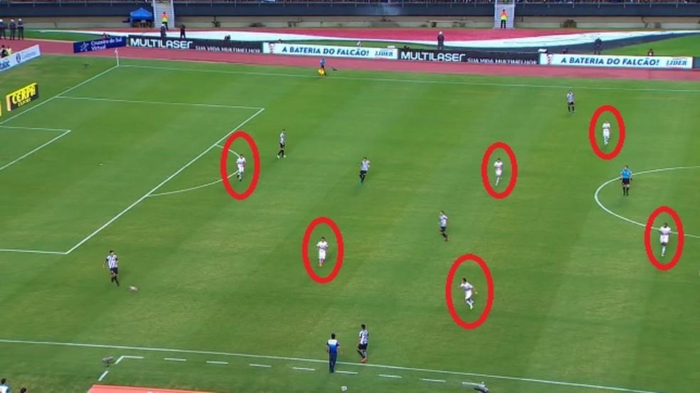 Jogadores do São Paulo adiantados, mas não pressionam nem fecham o passe do Santos (Foto: Reprodução)